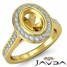Halo Diamond Engagement VS1-VS2 Ring Oval Shape Semi Mount 14k Yellow Gold 0.5Ct