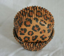 50 brown leopard print cupcake liners baking paper cup muffin cases 50x33mm
