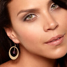 Real 14K Yellow Gold Hammered Openwork Natural Amethyst Hoop Earrings QVC
