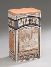 Vintage-Style Food Safe Cattle Drive COFFEE Tin Canister Container Can
