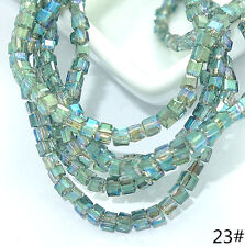 Wholesale 200PCS CUBE Crystal glass Jade Loose Spacer BEADS 2mm 60 colors