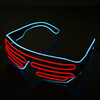 Neon El Wire LED Light Double Shutter Glasses Funny Rave Party Sunglasses