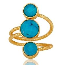 Natural Turquoise 18K Gold Plated 925 Sterling Silver Ring Gemstone Jewelry