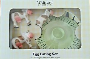 Whittard Egg Eating Set Cow Salt & Pepper Shakers Dish Beth China Hand Painted