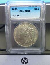 1898 Morgan Silver Dollar Top VAM-1A Open 9, ICG-AU58, nice Mint luster!