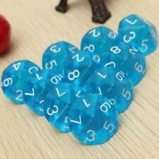 Azul D10 Diez caras de los dados por Gema juego de rol Dungeons & Dragons
