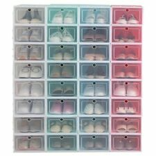 Foldable Plastic Transparent Shoe Box Storage Clear Organizer Stackable Boxes L
