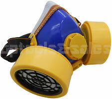 Industrial Chemical Respirator Mask Assembly w/ Dual Filter Cartridges Gas Vapor