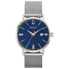 Bulova Men's Classic Aerojet Deep Blue Dial Mesh Bracelet 39mm Watch 96B289