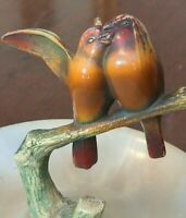 Antique Lovebirds on Branch Painted Bronze & Alabaster Tray