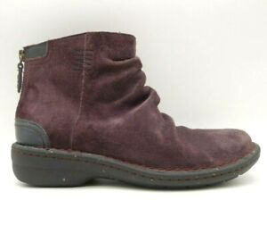 Clarks Artisan Purple Suede Leather Zip Up Ankle Boots Shoes Women's 7.5 M