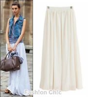 CelebStyle White Double-Layered Chiffon Full Length Maxi Skirt