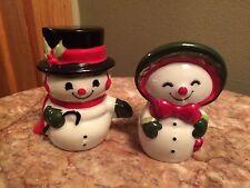 VIntage HALLMARK SNOWMAN frosty Salt & Pepper Shakers 1980's winter Christmas
