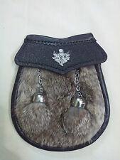 Child's Kilt Sporran Grey Rabbit Fur Thistle/Kids Sporran Leather/Baby Sporrans