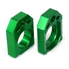 Green Rear Axle Block Chain Adjuster For KAWASAKI KX125 250 03-08 KX450F KX250F