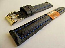 cinturino pelle nero-blu techno-fiber water resist watch correa strap orologi