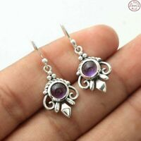 "Solid 925 Sterling Silver Natural Amethyst Jewellery Gemstone 1.25"" Earring"