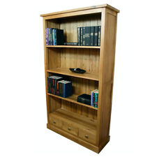 Tall Solid Oak Bookcase with Drawers | Light Oak Living Room Furniture 1154