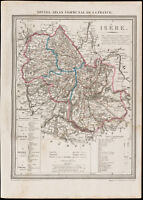 1839 - Landkarte Geografische Alte De L'Isère. Verwaltungsbezirk France. Gravur