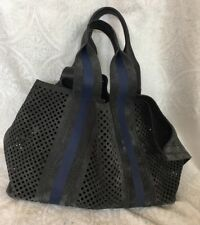 Pedro Garcia Purse Charcoal And Blue Suede Perforated Open Inside Flat Pouch Med