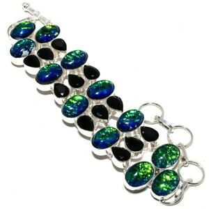 """Lovely Triplet Fire Opal, Black Onyx Gemstone 925 Sterling Silver Bracelet 7-8"""""""