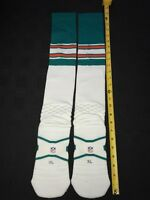 MIAMI DOLPHINS TEAM ISSUED/GAME WORN NIKE THROWBACK OFFICIAL NFL SOCKS X-LARGE