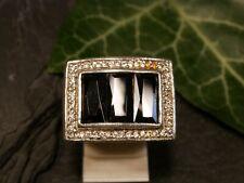 Großer 925 Sterling Silber Ring Siegelring Zirkonia Schwarzer Besatz Black&White