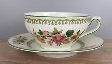 Hutschenreuther rosa Blumen grüne Ranken Teetasse Tasse Unterteller Untertasse