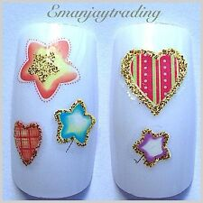 Nail Art Water Decals/Transfers/Stickers Hearts & Stars With Gold,Valentine #161