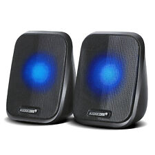 PC Computer Laptop Speakers USB 2.0 Stereo LED 6W High Quality Clear Sound UK HQ