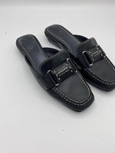 Women Shoes Size 6 Cole Hann Leather Driving Loafers Black Slip On