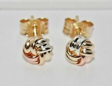 9ct Yellow Rose & White Gold Celtic Knot Ladies Stud Earrings ~