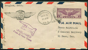 USA Luftpostbrief First Fligth Douglas ~ El Paso