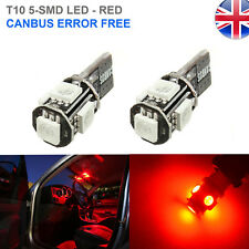 2x T10 RED 5 SMD LED CANBUS 501 W5W INTERIOR SIDE LIGHTS NUMBER PLATE BULBS UK