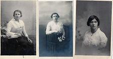 Lot Of 3 Antique Original Postcards - Ladies, Signed (RP)
