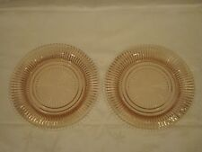 2 Rare Vintage Pink Depression Glass Queen Mary Dinner Plates