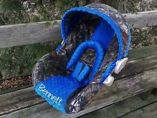 Camo Infant Car Seat Cover, Mossy Oak fabric and Royal Blue Minky, Personalized