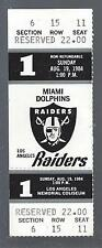 1984 NFL MIAMI DOLPHINS @ LOS ANGELES RAIDERS FULL FOOTBALL TICKET - DAN MARINO