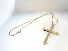 ELEGANT VICTORIAN 1/20 12k GF YELLOW GOLD CROSS PENDANT SEED PEARL ACCENTS CHAIN