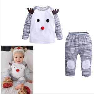 Baby Set Jungen Mädchen Weihnachten Kostüm T-shirt Hose Kleidung Outfit new