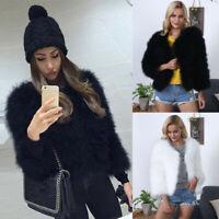 Women Faux Fur Feather Soft Fur Coat Fluffy Jacket Ladies Winter Short Overcoat