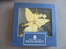 Wedgwood White Jasper Angel with Gold Trumpet ~ Peace Ornament Mib