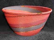 Plum Wine Copper Handmade African Zulu Telephone Wire Basket DEEP LRG BOWL