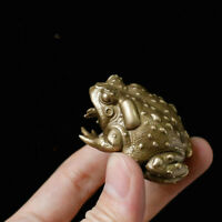 Antique Bronze Sculpture of Solid Brass Toad Small Ornament