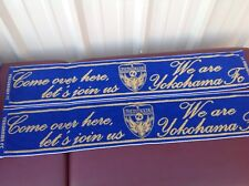 "(2) Yokohama Football Club Banners  44"" x 6""  Tapestry  Royal Blue & Gold"