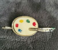 Vintage Silvertone Artist Paint Pallette brushes Brooch/Pin