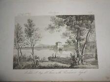 1845 ACQUAFORTE VEDUTA LAGO DEL FUSARO BACOLI POZZUOLI REGNO DELLE DUE SICILIE