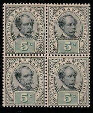 SARAWAK 1899 5c Prepared for use but not issued MNH block of 4.............65929