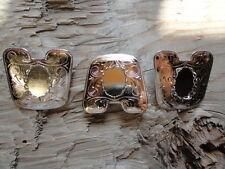 Bolo Slide bright silver Plated Pants 13x18mm Vertical lacy Bezel 0430 (pkg 3)