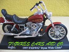 MOTO1/18 HARLEY DAVIDSON  FXDWG DYNA WIDE GLIDE 1997 BORDEAUX  NEUVE